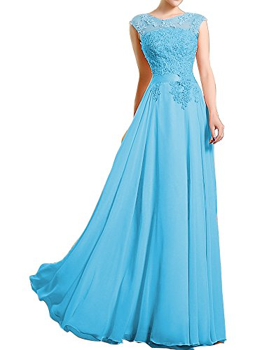 [Prom Formal Evening Dress Lace up A line Jewel Floor length with Appliques Beading Pearl Blue-Custom Made] (Jkara Woman Beaded Chiffon Gown)
