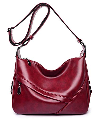 (Women's Retro Sling Shoulder Bag from Covelin, Leather Crossbody Tote Handbag New Wine Red)