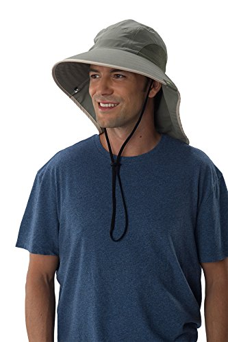 Sun Protection Zone Unisex Lightweight Adjustable Outdoor Floppy Sun Hat (100 SPF, UPF 50+) - Olive with Khaki Trim