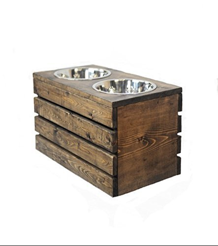 Elevated Dog Feeder, Wooden Crate Pet bowl, Stainless Steel, Handmade. By Blackwater