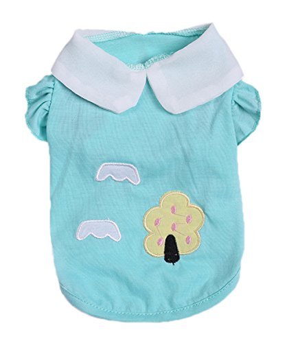 Freerun Pet Puppy Dog Cat Spring Summer Cute Tree Print Lapel Shirts Clothing Costume Apparel - Blue, (Homemade Puppy Costumes For Kids)