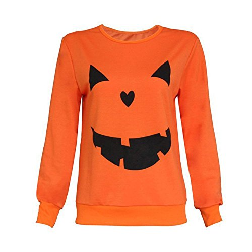 Grinch Halloween Costume Ideas (Haocloth Pumpkin Sweaters For Women Pumpkin Print Sweater Halloween Pumpkin Print Long Sleeve Sweatshirt)