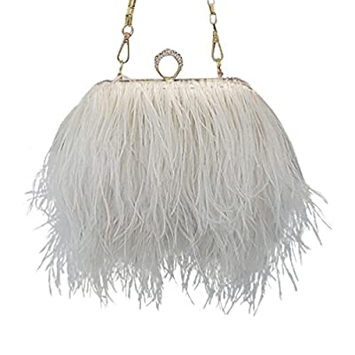 L'vow Women' Ostrich Feather Evening Clutch Bridesmaid Handbag Shoulder Bag Party Purse