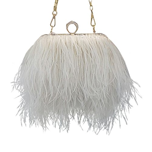 Feather Bag White Real Ostrich Shoulder Natural Clutch TOOKY tq18UxY
