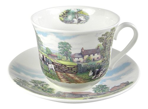 Roy Kirkham Teacup and Saucer Set with English Countryside Decor in Fine Bone China from England (English Countryside Saucer)