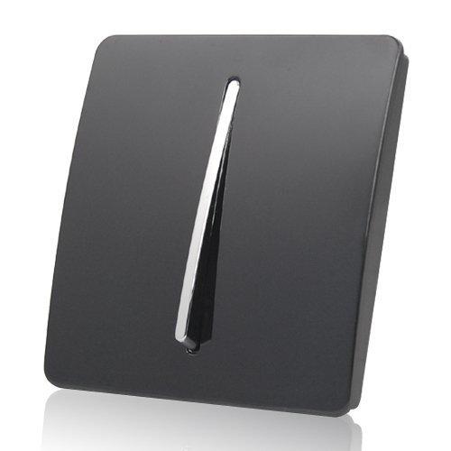 MODERN GLOSS BLACK & CHROME LIGHT SWITCH 1 GANG 1 WAY: Amazon.co.uk: DIY &  Tools