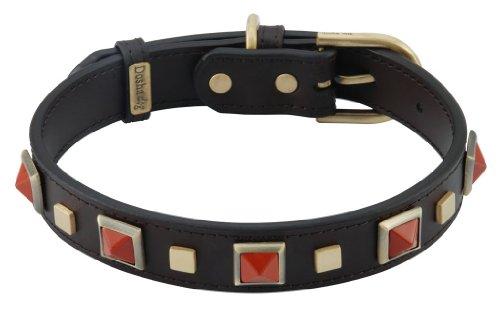 Dosha Dog - Rock & Roll Brown Leather Dog Collar With Red Jasper Pyramid Cabochon - Medium