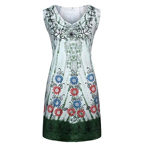 (AmyDong Women's Plus Size O-Neck Tie-Dyed Printing Sleeveless Camisole Casual Mini Dress Army Green)