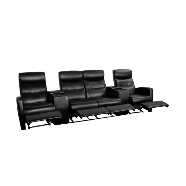 Flash Furniture Anetos Series 4-Seat Reclining Black Leather Theater Seating Unit with Cup Holders