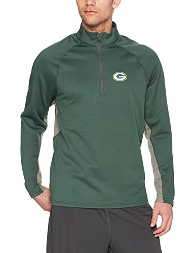 NFL Green Bay Packers Men's OTS Poly Fleece 1/4-Zip Pullover, Dark Green, Large