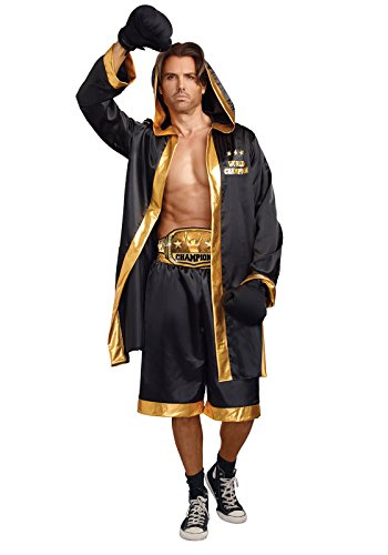 Dreamgirl Men's World Champion Costume, Black/Gold, Large