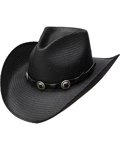 Charlie 1 Horse Women's Black Shantung Hat with Antique Concho Band, Large