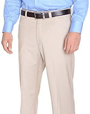 Calvin Klein Regular Fit Solid Beige Stone Flat Front Washable Dress Pants