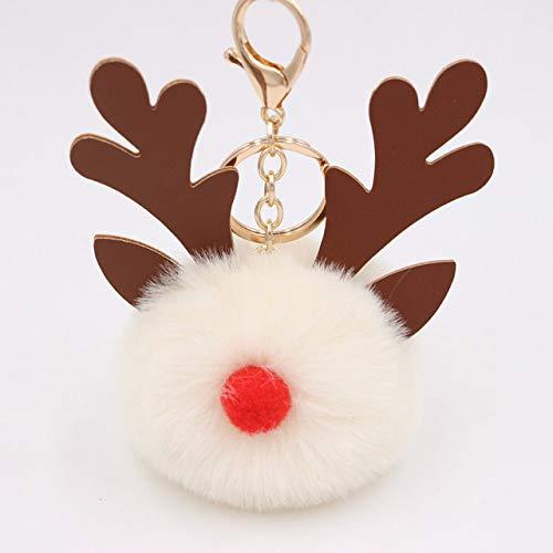 Poof Keychain Cartoon Keychian Christmas moose Hair Ball Keychains Women Charm Bags keychain Christmas Accessories Pendant Car Key 8