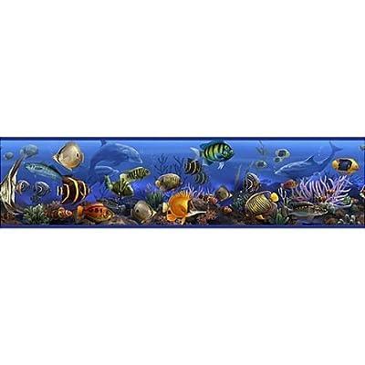 Under the Sea Wallpaper Border Peel & Stick 15' Sealife Fish Coral Ocean Beach