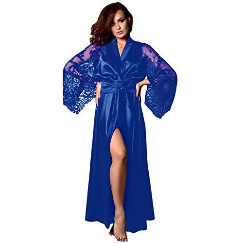 UNBRUVO 2019 Nightgowns for Women Satin Long Nightdress Silk Lace Lingerie Nightgown Sleepwear Sexy Robe Blue Medium