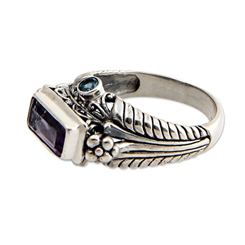 - NOVICA Amethyst .925 Sterling Silver Rectangular Cocktail Ring, Sea Temple'