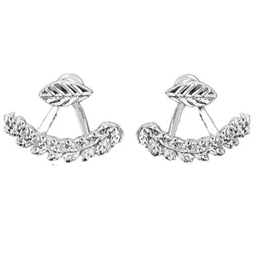Ownsig Women Cute Leaf Shaped Ear Stud Front Back Earrings (Silver)
