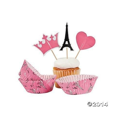 Pink Paris Love Eiffel Tower Baking Cups with Picks - 100 pcs New