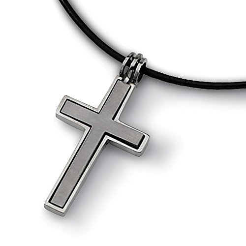 Titanium Leather Cord Cross Necklace 18'' inches length (Titanium Necklace 18')