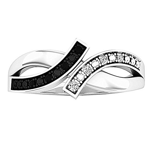 Dazzlingrock Collection 0.06 Carat (ctw) Sterling Silver Round Black and White Diamond Ladies Bypass Promise Ring, Size 6.5 ()