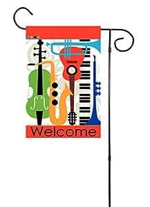"Welcome–Instrumentos musicales–Piano, Guitarra, tambor, saxofón, Flauta, trombón jardín bandera 12""x18"""