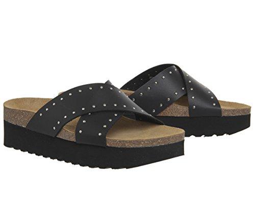 Strap Studded Double Footbed Office Sandals Black Warner EBRwBqpn7