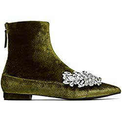 Zara Women Flat velvet ankle boots with gem detail 6122/201 (35 EU | 5 US | 2 UK)
