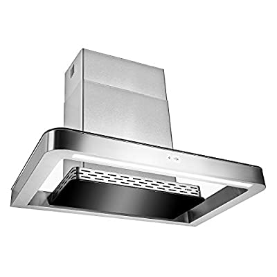 "AKDY 30"" Wall Mount Stainless Steel Push Panel Kitchen Range Hood Cooking Fan"