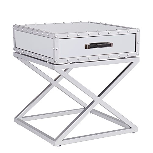 Southern Enterprises Lazio Industrial Mirrored End Table with Matte Silver Trim ()