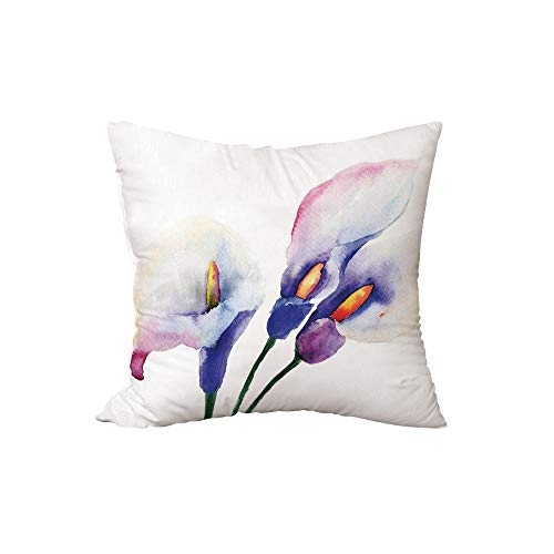 Throw Pillow Cushion,Watercolor Flower,Pale Lily Flowers Painting Close View to The Revival of The Spring Art Print,White Violet,15.7x15.7Inches,for Sofa Bedroom Car Decorate