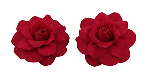One Rose Red Velvet (Bonitagirl 1 Pair Mini Rose Flower Hair Clip (Red Velvet))