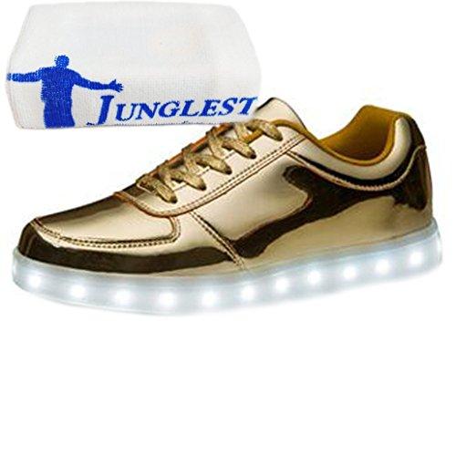 [Present:small towel]JUNGLEST® Womens Mens 7 Colors Light USB Charging LED Light-Up Sport Shoes Gold S2I5Ox3mm