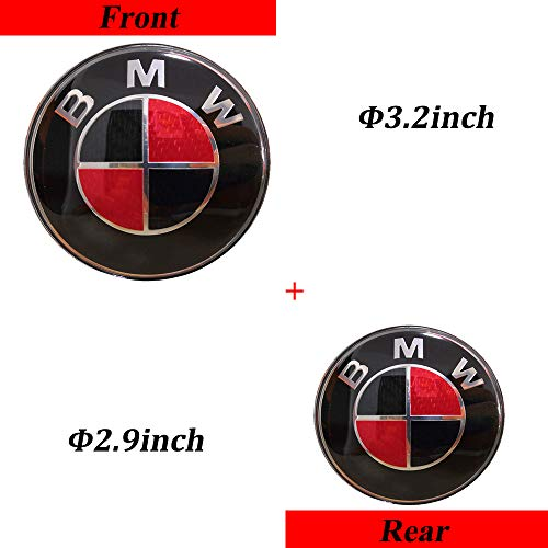 TaTyee BMW Emblems Hood and Trunk, Black Carbon Fiber BMW Emblem Logo Replacement fit for All Models BMW E30 E36 E46 E34 E39 E60 E65 E38 X3 X5 X6 3 4 5 6 7 8 (Black&Red, 2.9