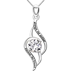 ALOV Jewelry Sterling Silver Always My Mother Forever My Friend Love Cubic Zirconia Pendant Necklace