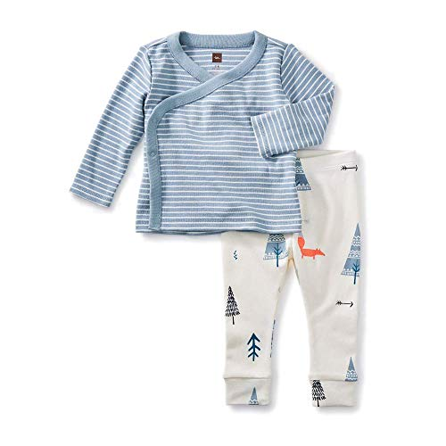 (Tea Collection Wrap Top Baby Outfit, Tourmaline, Blue Stripe Top and White Pants with Forest Designs (0-3)