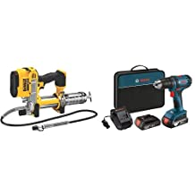 DEWALT DCGG571B 20V MAX Lithium Ion Tool Only Grease Gun & Bosch DDB181-02 18-Volt Lithium-Ion 1/2-Inch Compact Tough Drill/Driver Kit with 2 Batteries, Charger and Contractor Bag
