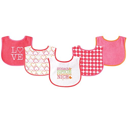 Luvable Friends 5 Piece Fun Girls Drooler Bibs, Sugar and Spice