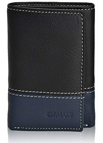 Slim Leather RFID Trifold for Men - RFID Blocking Genuine Leather wallet 7 Card Holder With ID Window (Black/Navy Left ID)