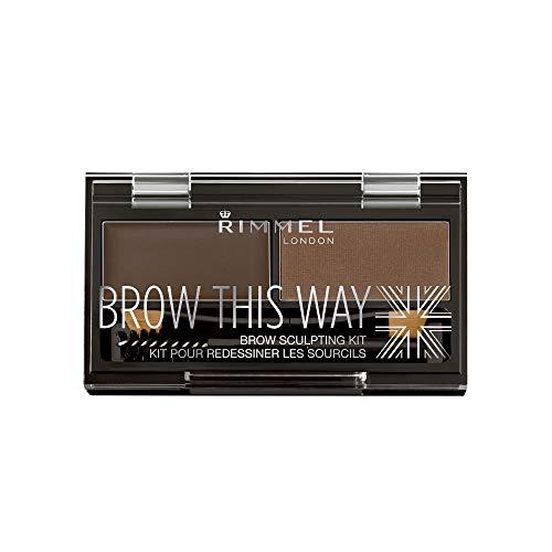 Rimmel Brow This Way Sculpting Kit, Dark Brown, Powder 0.04 oz., Wax 0.03 oz., Brow Sculpting & Styling Kit with Eyebrow Wax & Setting Powder ()
