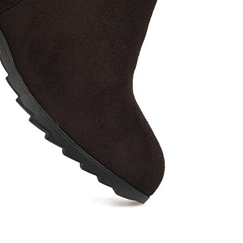 Mid Closed top Toe Boots Allhqfashion Round Imitated Suede Kitten Women's Pull Brown on Heels wqx1SFv