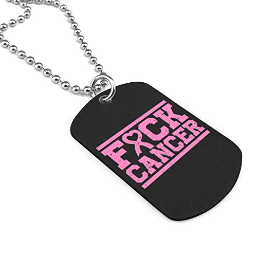 Fck Cancer Pink Ribbon Breast Cancer Military Necklace Dog Tag Pendant Jewelry Necklace