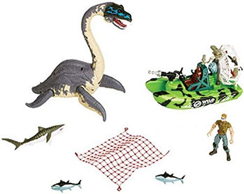 Animal Planet Deep Sea Dino Adventure 7 Piece Playset with Elasmosaurus, Green Camo Boat, Shark, Tuna, Net and Action Figure