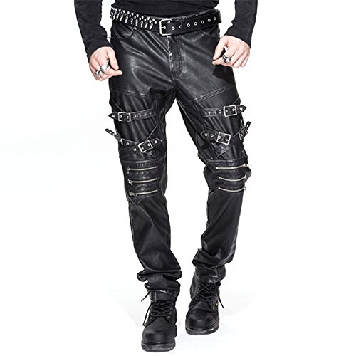 Devil Fashion Men PU Leather Trousers Steampunk Buckle Straps Rock Straight Leg Pants (L, Rub the (Steampunk Fashion Male)