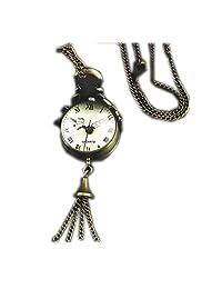 SUPPION Women's Retro Quartz Pocket Watch, Ball Glass Shape Steampunk Watch Necklace Chain