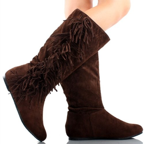Amazon.com | Women's Faux Suede Fringe Moccasin Tassle Knee High ...