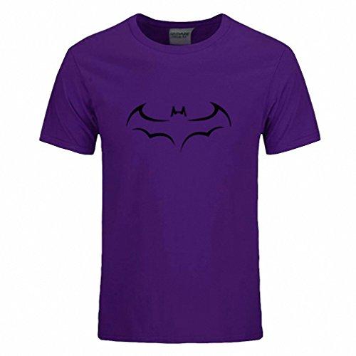 Cotton Men T Shirt Casual Short Sleeve T-Shirt For Men Batman Print Men T Shirt Crewneck Mens Tee Shirt Purple and black S