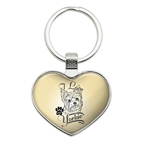 I Love My Yorkie Yorkshire Terrier Heart Love Metal Keychain Key Chain Ring