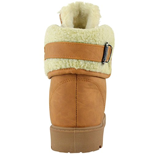 WINTER FLAT HEEL SOLE Faux SNOW SIZE Leather LADIES ANKLE FUR BOOTS WOMENS Brown GRIP LOW LINED Tan SwE4qxRSW