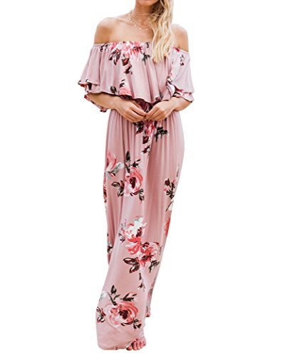 Chuanqi Womens Summer Floral Off The Shoulder Dresses Causal Flowy Beach Long Maxi (Pink Floral Summer Dress)